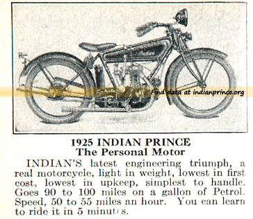 1925 indian prince motorcycle ad