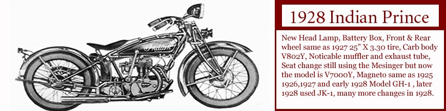 1928 Indian Prince motorcycle. Last year made of the Prince. click on image to see more Data.