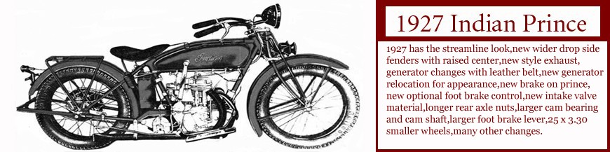 1927 Indian Prince single cylinder motorcycle. click on image for Data on this Indian.